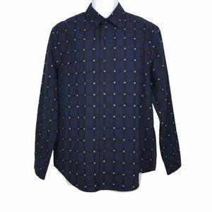 Tasso Elba Blue Check Dress Business Shirt L 16.5